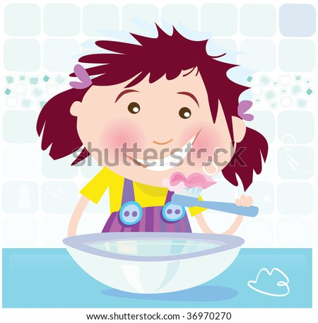 Girl is brushing teeth. Small girl in bathroom. Vector Illustration.