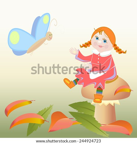 girl sitting on a mushroom and butterfly