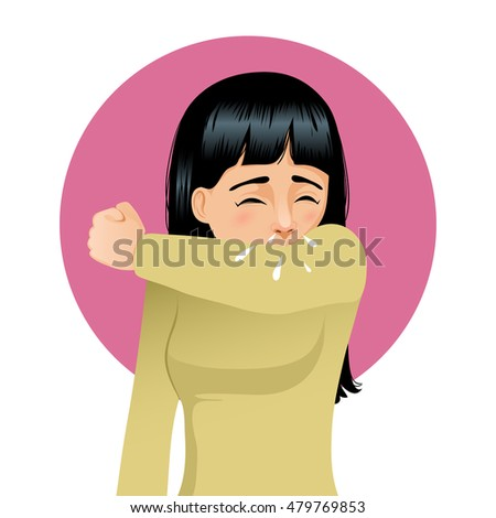 Girl sneezing in elbow, vector image