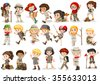 Girls and boys in camping costume illustration - stock photo