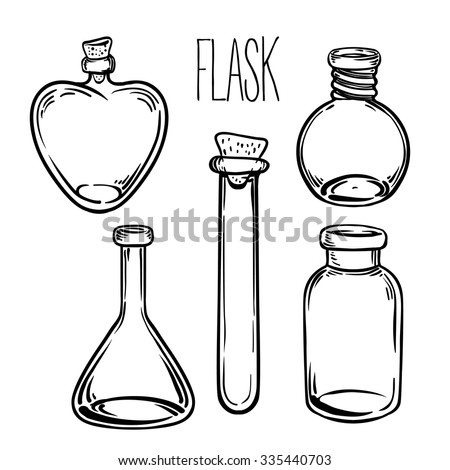 glass bottles vector illustrationink on aged card paper kitchen objects doodle style - Coloring Book Paper Stock