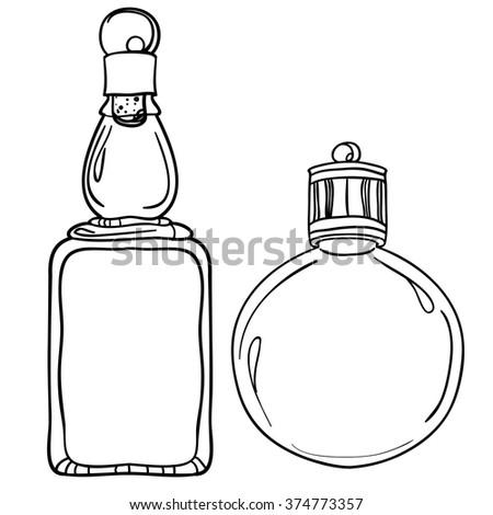 Glass Bottles Vector Kitchen Objectsstyle Sketchbottle In A Plant