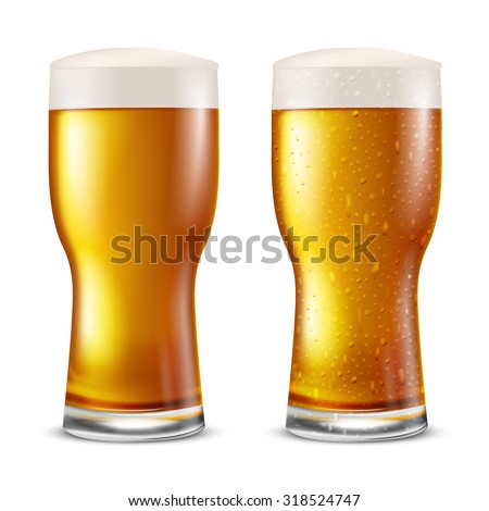 Glass of light beer with water drops, vector illustration