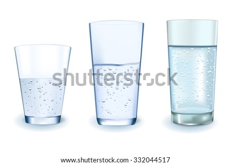 Glass of sparkling water.  Vector Illustration isolated on white background.