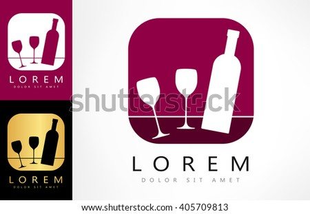Glasses and bottle vector. Wine logo design.