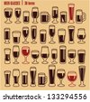 Glasses icons set. Beer glass isolated icons collection. Wine glass. Cups. - stock vector