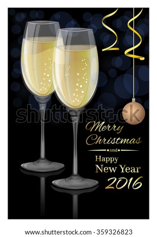Glasses of champagne on a dark background. Merry Christmas and Happy New Year 2016. Vector Christmas card.