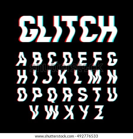 Glitch font with distortion effect. Vector illustration.