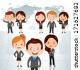 Global business team. Vector illustration of a group of successful businessman and business women standing against world map background. - stock