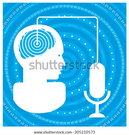 global communications silhouette of a man's head with a network. Concept of communication