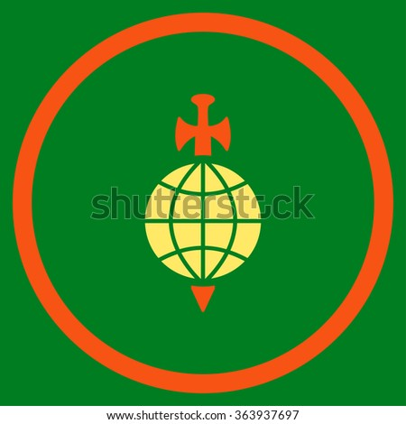 Global Guard vector icon. Style is bicolor flat circled symbol, orange and yellow colors, rounded angles, green background.