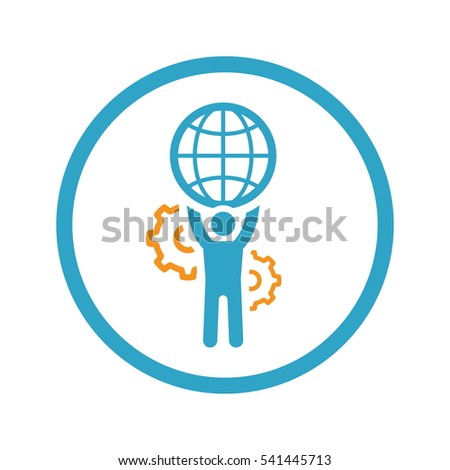 Global support icon flat design business stock vector for Global design firm