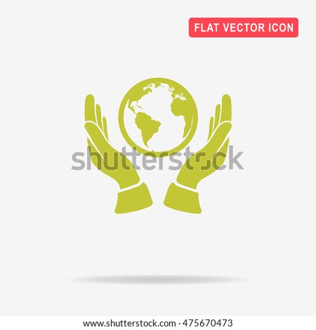 Globe and hands icon. Vector concept illustration for design.