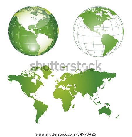 globe and map green
