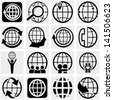 Globe earth vector icon set on gray - stock