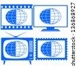 Globe icon set for various design - stock vector