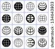 globe icons set - stock