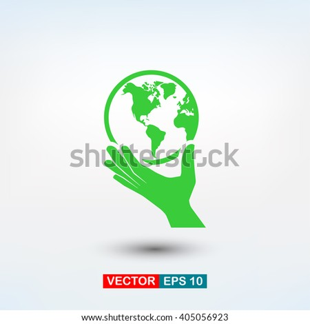 globe in hand  icon. One of set web icons