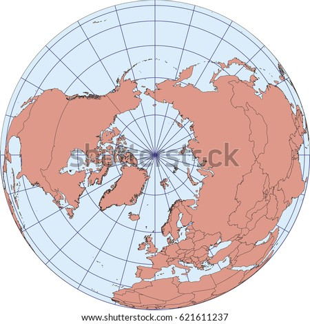Australia oceania map australasia asia russia vectores en stock globe map centered on the north pole ortographic projection with graticule elements of this gumiabroncs Choice Image