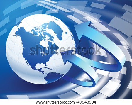Globe on Abstract Liquid Wave Background Original Vector Illustration