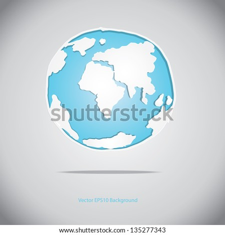 Globe with hand sketch vector shadows and white map