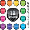 Glossy empty shield (vector icon set of 13 colors vector icon with copy-space) - stock photo