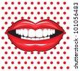 glossy female lips - stock vector