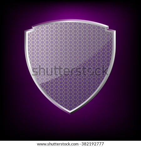 glossy purple shield symbol vector illustration eps 10