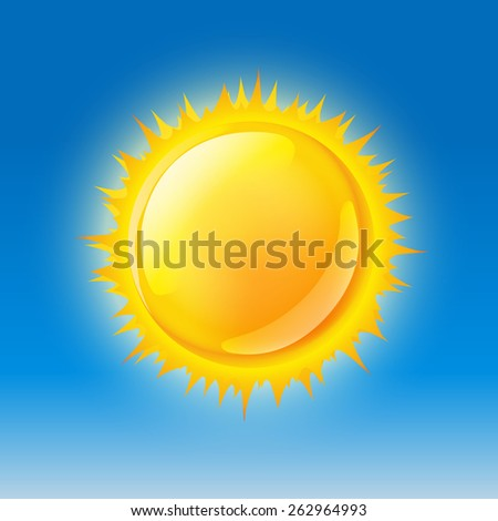 glossy sun on blue sky. vector illustration
