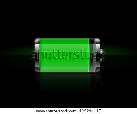 Glossy transparent battery icons. Full green battery on black background