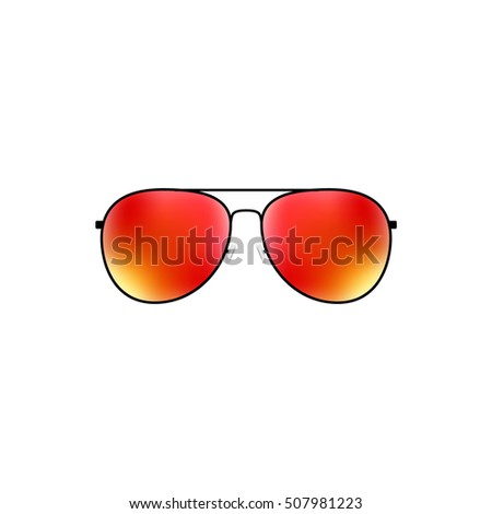 Glossy vector aviator sunglasses holiday summer vacation design