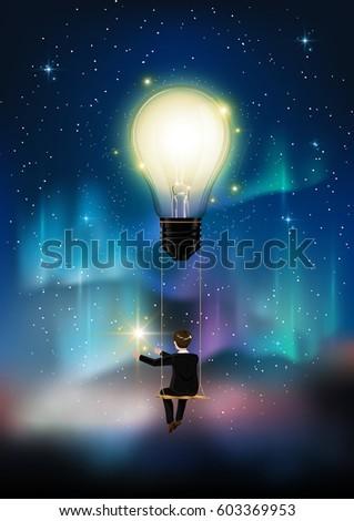 Glowing light bulb is among a lot of stars on aurora blue sky businessman on & Aurora Blue Sky Star Form Milky Stock Vector 609370433 - Shutterstock azcodes.com
