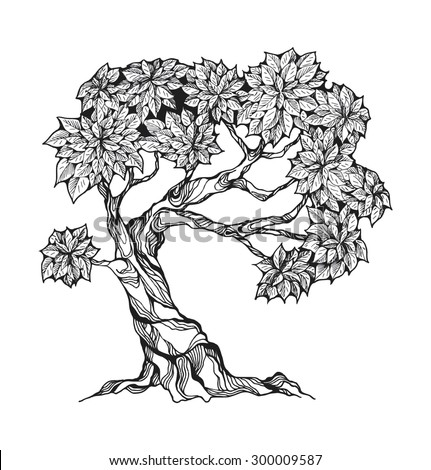 Gnarled tree with leaves in a stylized style.