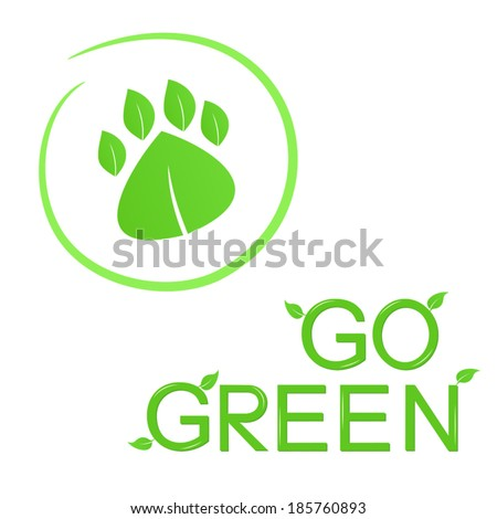 Go green concept with animal footprint of leaves