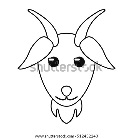 Goat Head Small Horn Vector Stock Vector 231524437 ... Goat Face Side Drawing