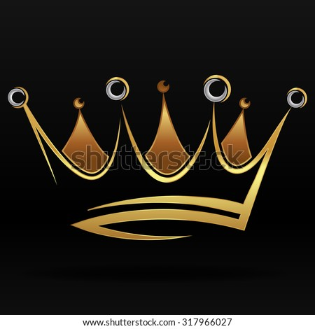 Gold abstract crown for graphic design and logo on black background
