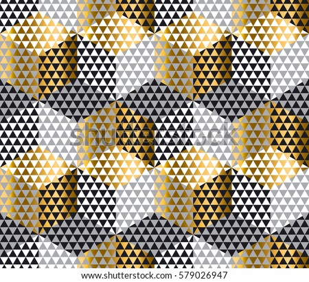 Gold Black Geometry Hexagon Seamless Fabric Stock Vector 579026938 ...