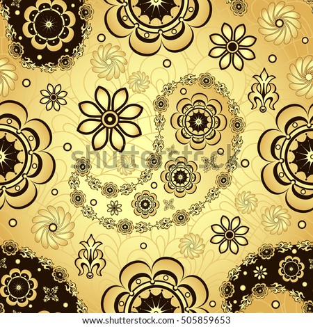 Gold and brown seamless pattern with shiny gradient vintage flowers and paisley, vector