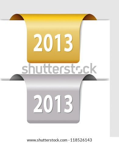Gold and silver 2013 labels - two Stickers on the edge of the page