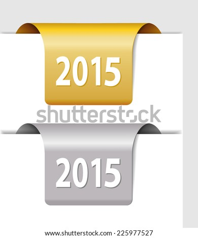 Gold and silver 2015 labels - two Stickers on the edge of the page
