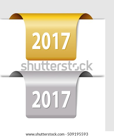 Gold and silver 2017 labels - two Stickers on the edge of the page