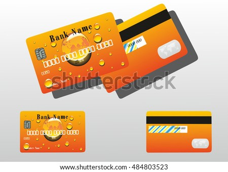 gold bank card with drops.vector illustration.