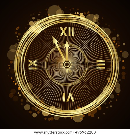 Gold Christmas magic clock background. Golden shiny design with sparkles and glitter. Decoration for card, greeting. Symbol of Happy New Year 2017 holiday, countdown. Vector illustration