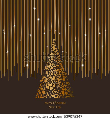 gold christmas tree with ornate vertical winter holidays greeting cards with new year gift box - Gold Christmas Tree