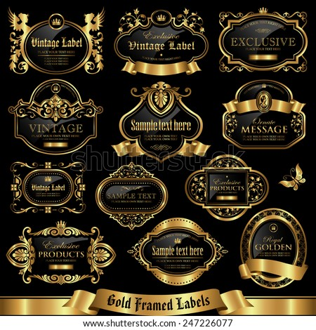 Gold framed labels set 10