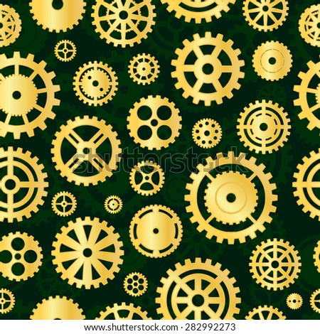 Gold gears on green background. Seamless pattern.