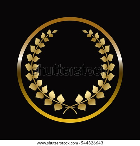 Gold labels award with laurel wreath on dark background.