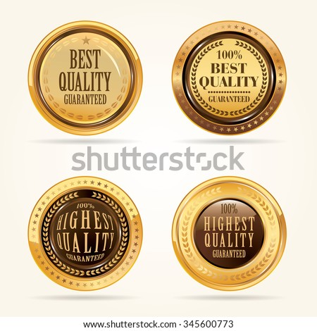 Gold labels vector set.