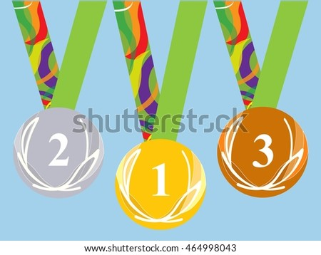 Gold medal icon. Silver medal icon. Bronze medal icon. Medal set. Blue background.