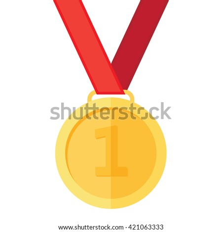 Gold medal on the white background